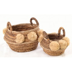 Set of 2 hand woven baskets with a fluffy pompom decoration in a natural colour