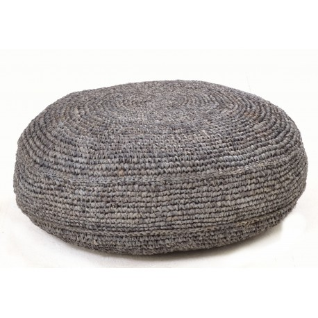 Hand woven round footstool or pouffe in black