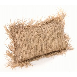 Rectangular hand woven cushion with tasselled edges