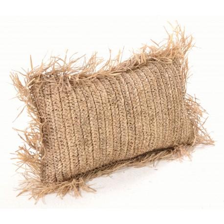 Rectangular hand woven cushion with tasselled edges