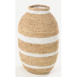 Hand woven tall urn shaped basket with white stripes