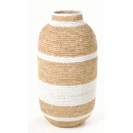 Hand woven tall urn shaped basket with broad white stripes