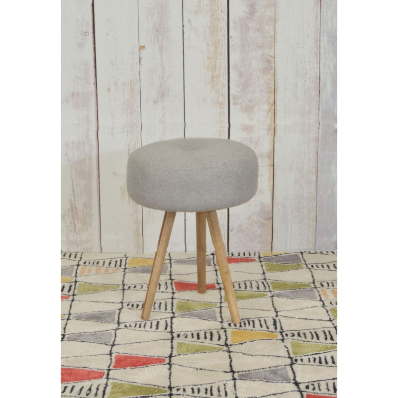 Upholstered Round Stool With Three Solid Mango Wood Legs