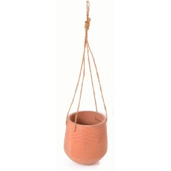 Terracotta hand made hanging planter with a chevron motif in a unglazed finish