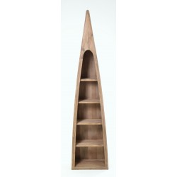 Slim bookcase in a classic boat shape with 5 shelves made from reclaimed pine with white painted sides