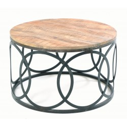 Round coffee table with a solid mango wood top and circle motif base made in steel