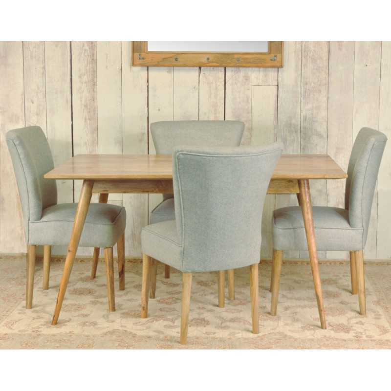 Retro Styled Solid Mango Wood Dining Table And Four