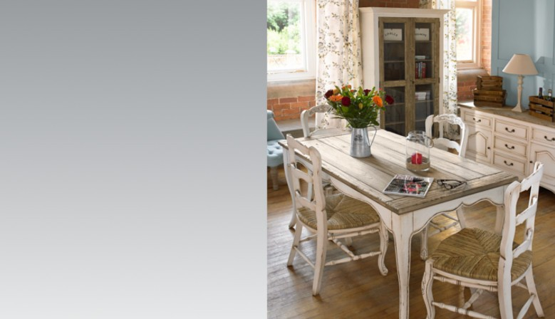 Vinitage shabby chic dining furniture with contrast painted and wethered pine finish supplied wholesale