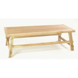 Rustic solid teak coffee table with angled leg base and a plain wood unpainted finish