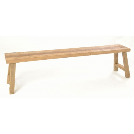 Rustic solid teak long bench about 180cm in length with a naturally distressed unpainted finish