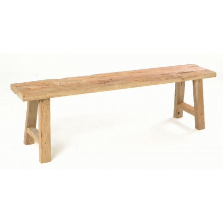 Rustic solid teak long bench about 150cm in length with a naturally distressed unpainted finish