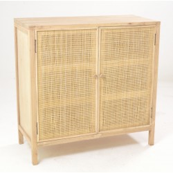 Small cabinet with three internal shelves and woven rattan door panels with unpainted wood finish
