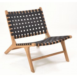Solid wood teak framed low easy chair with black strap woven seat and back