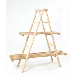 Solid wood two shelf bookcase or display unit made from teak branches as a pyramid frame left unfinished with slatted shelves