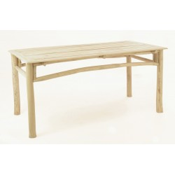 Solid wood teak dining table made from teak branches with a slatted top and plain wood finish
