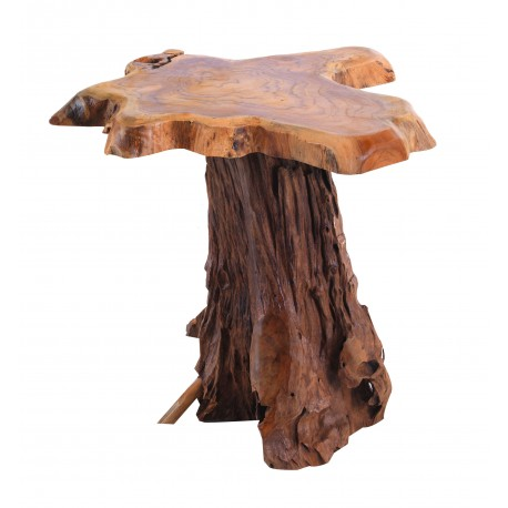 Lamp Table made from teak root using the natural shape of the wood to complete the style of table finished in a natural finish