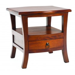 Pacific Lamp Table with a gentle curve to the legs and a single shelf and lower drawer