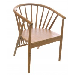 Solid Teak tub chair in a light wood finish with angled slat and curved back