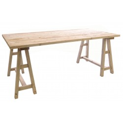 Solid Wood Trestle Table with a stripped back wood finsh