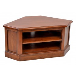 Mahogany Low Corner TV Unit with two shelves, fits fully in the corner with two cable holes, finished in a polished finish