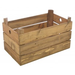 Solid wood slatted crate in a natural wood finish with two cut out finger holes for handles