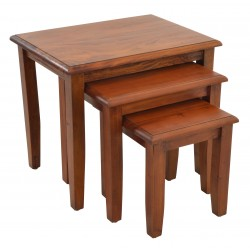 Nest of three tables with straight leg and a traditional polished finish