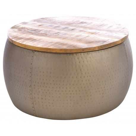 Round metal coffee table with a solid mango wood top with a rustic finish and dimples in the metal