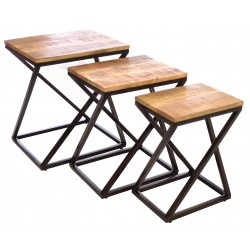 Steel 3 table nest of tables in a zigzag design with rustic solid mango wood tops