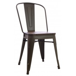 Dark Wood and Metal Tolix Dining Chair