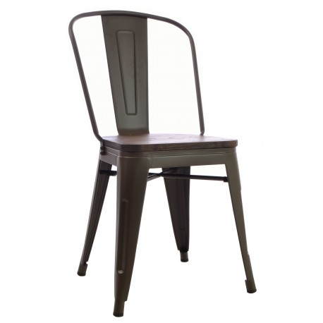 Steel and Elm dining chair with solid wood seat in a drak finish and slat back frame in a dark grey finish