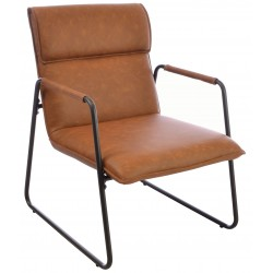 Steel and faux leather armchair with a dark grey tubular steel frame and brown faux leather seat