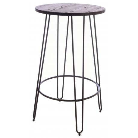 Steel and Elm tall round bar table with a dark grey steel bar frame and solid round dark wood top