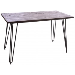 Dark Wood and Metal Small Rectangle Table