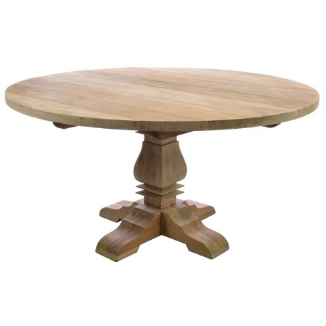 Large Round dining table with single pedestal leg and four feet in a stripped back vintage finish