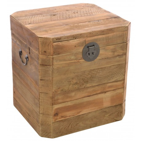 Small solid wood chest made from reclaimed pine with aged distressing and worm holes in