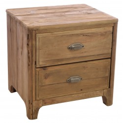 Solid wood two drawer lamp table made from reclaimed pine with aged distressing and worm holes