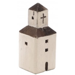 Small white square church ornament in the style of mediterranean church made from reclaimed pine