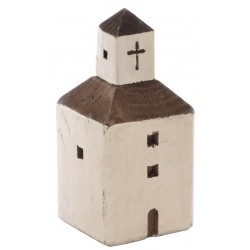 Medium white square church ornament in the style of mediterranean church made from reclaimed pine