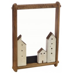 Village with three buildings in a large protrait frame made from reclaimed pine