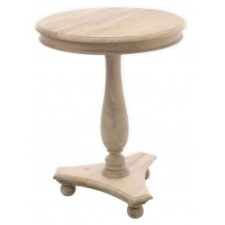 Solid wood tall occasional table with triangular base and bun feet in a stripped back vintage finish