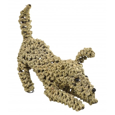 Dog ornament made from seagrass in a playing position