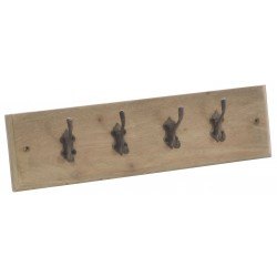 Four hook coat rack on a mahogany backboard with a stripped back vintage finish