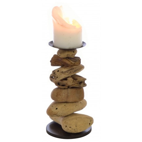 Stacked pebble style candlestick made from reclaimed wood with a black metal candle holder on the top