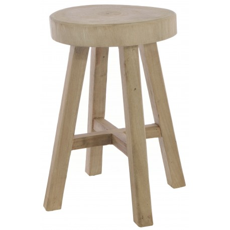 Solid wood stool with log top showing the growth rings through the stripped back old style finish
