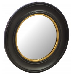 Solid wood round mirror with a simple curved design and finished in a black painted finish