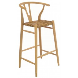 Solid wood bar chair with rush seat and a plain wood finish designed in an curved wishbone style