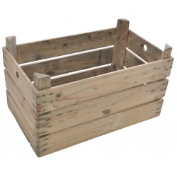 Solid Wood Slatted Storage Crate