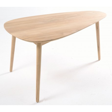 Solid wood coffee table with tear drop shaped tops and simple round legs finished in a plain wood finish