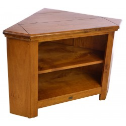 Solid mango wood corner tv unit with no gap and a rustic style finish in a deep honey colour