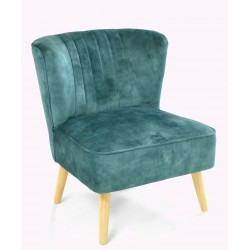 Deep Green coloured velvet covered accent chair or bedroom chair with wooden legs